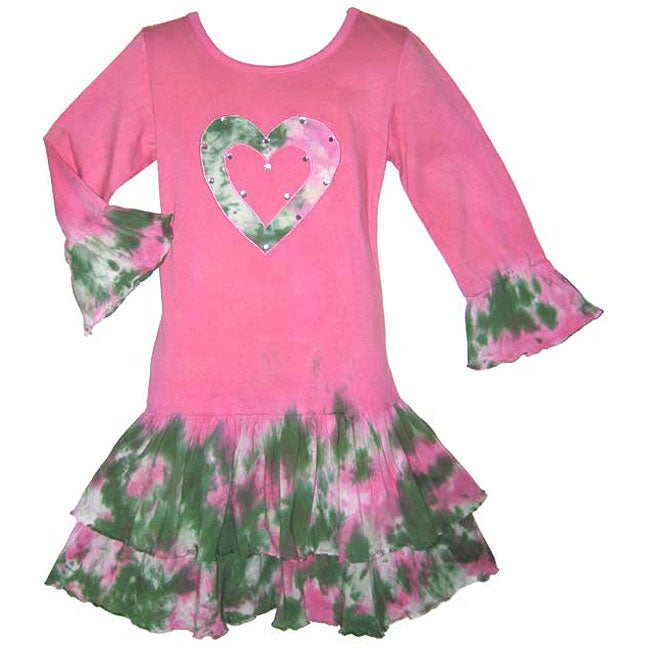 AnnLoren Girl's Pink Tie-dye Heart Rumba Dress
