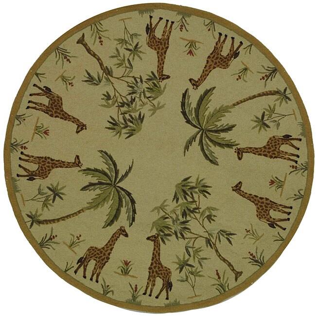 Safavieh Hand-hooked Giraffe Ivory Wool Rug (8' Round