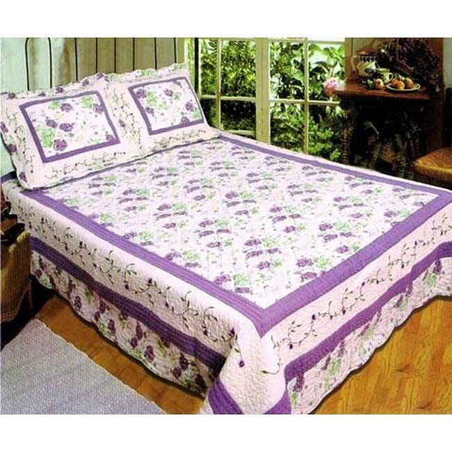 Monica Handcrafted Purple 3-piece Quilt Set