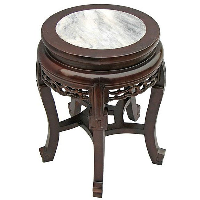 Antique style marble top end table 11480565 overstock for Antique marble coffee table and end tables