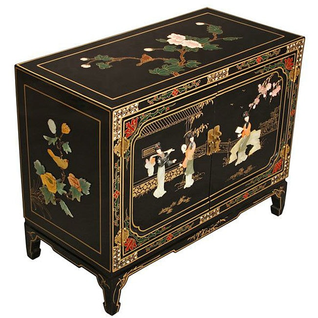Jade Stonework and Mother of Pearl Storage Cabinet