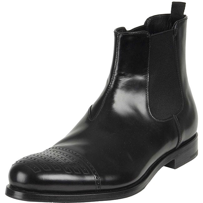 prada s black leather boots overstock shopping top