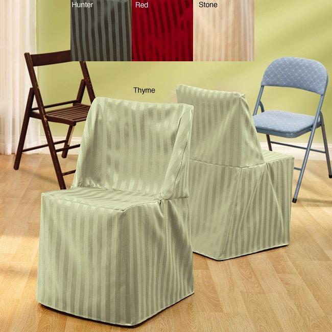 Satin Stripe Folding Chair Slipcover Set of 2 Overstock Sh