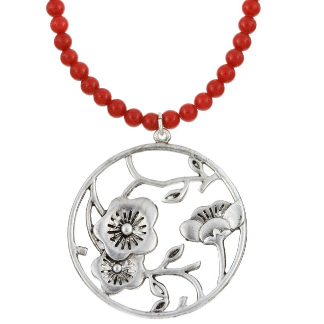 Charming Life Red Mountain Jade Bead Japanese Floral Necklace