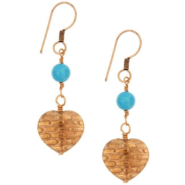 Charming Life Copper Turquoise Bead Heart Earrings