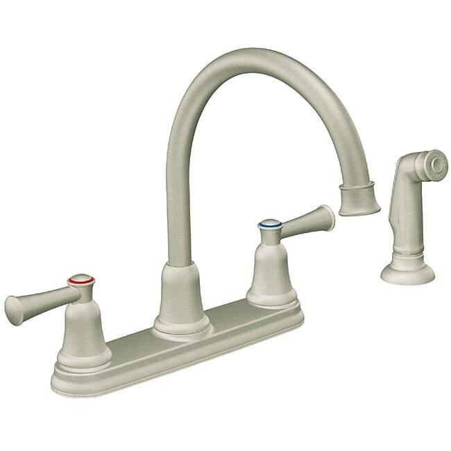 moen two handle stainless steel kitchen faucet overstock