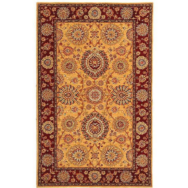 Safavieh Handmade Ancestry Gold/ Burgundy Wool and Silk Rug (5' x 8')