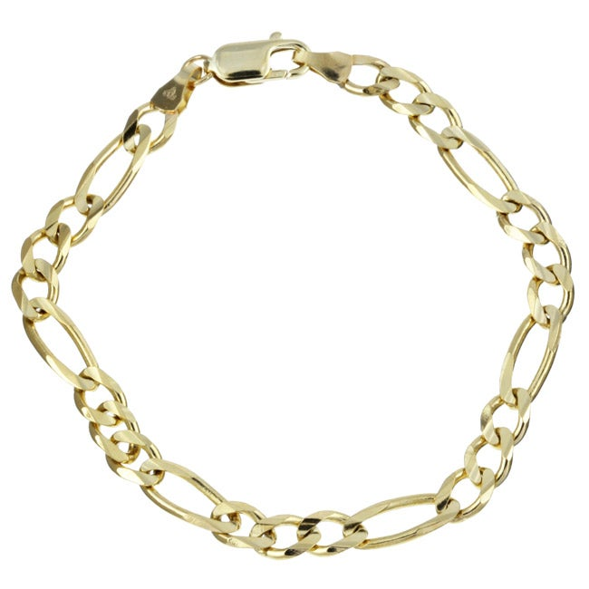 10k Yellow Gold 8-inch Concave Figaro Bracelet