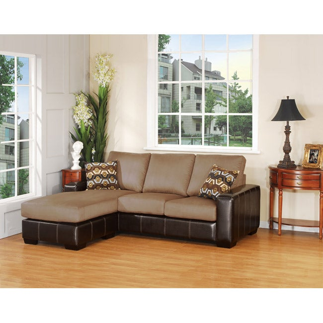 Dawson Microfiber Sofa with Chaise Lounge