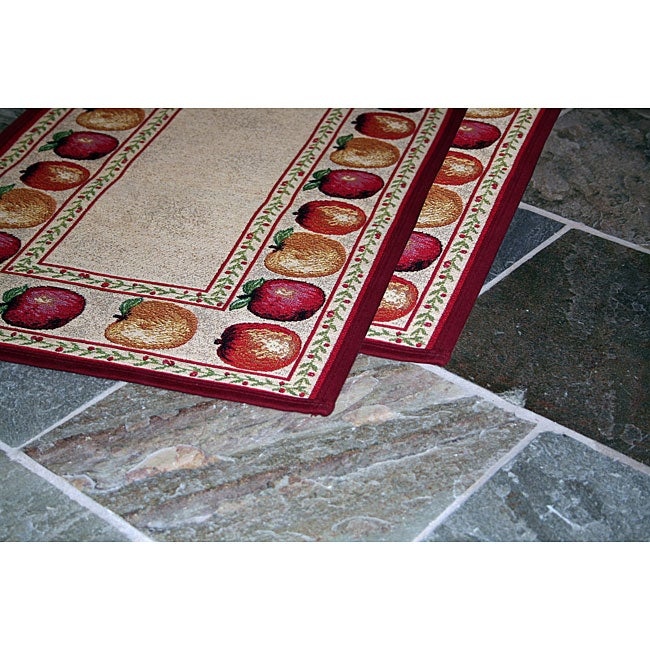 Apple Variety Two Piece Tapestry Rug Runner Set 19 X 27
