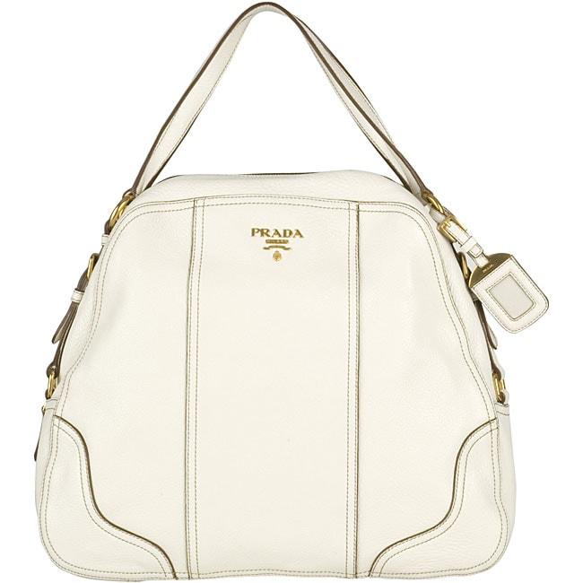 prada black wallet women - Prada Cervo Antik White Deerskin Shoulder Bag - 11500965 ...