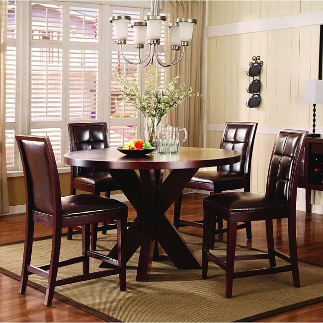 7-piece Round X Base Counter Dining Set