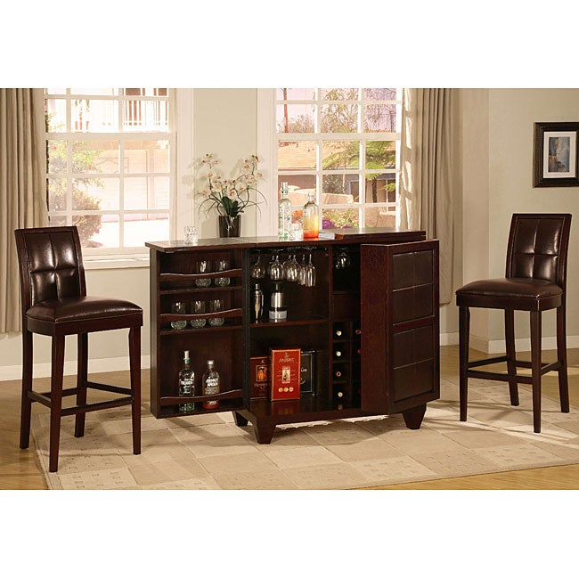 3-piece Leather-Wood Bar Set
