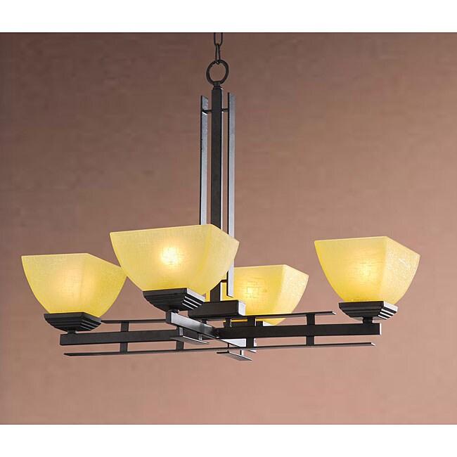 Elegant Matte Black 4-light Iron Chandelier