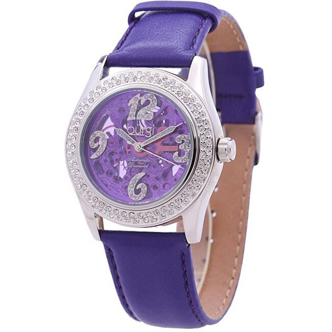 Burgi Women's Diamond Skeleton Automatic Watch