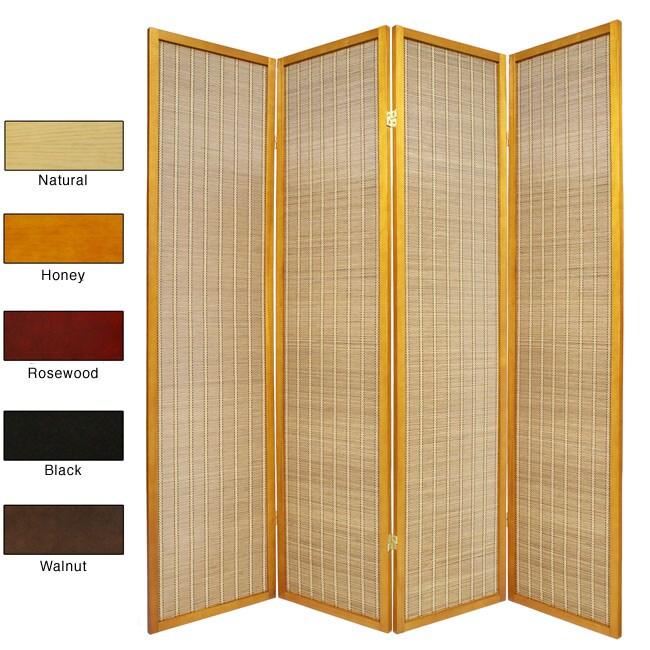 Wood and Bamboo 6-foot 4-panel Serenity Room Divider (China)