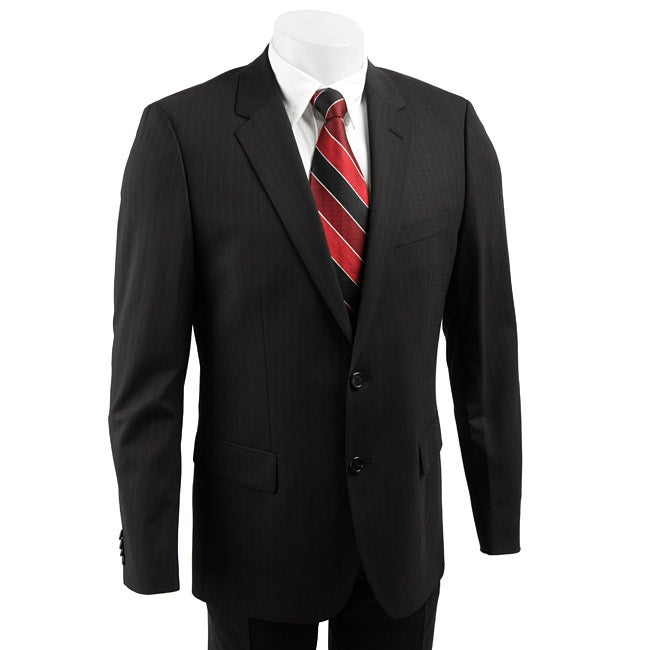 hugo boss red label men 39 s wool black stripe suit. Black Bedroom Furniture Sets. Home Design Ideas