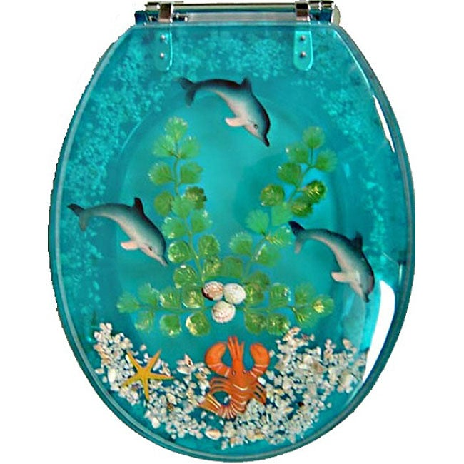 Decorative Polyresin Toilet Seat with Dolphins and Lobster