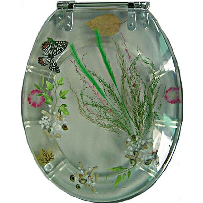 Butterfly Polyresin Elongated Toilet Seat