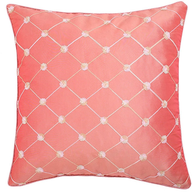 Pink Diamond Embroidered Cushion Cover
