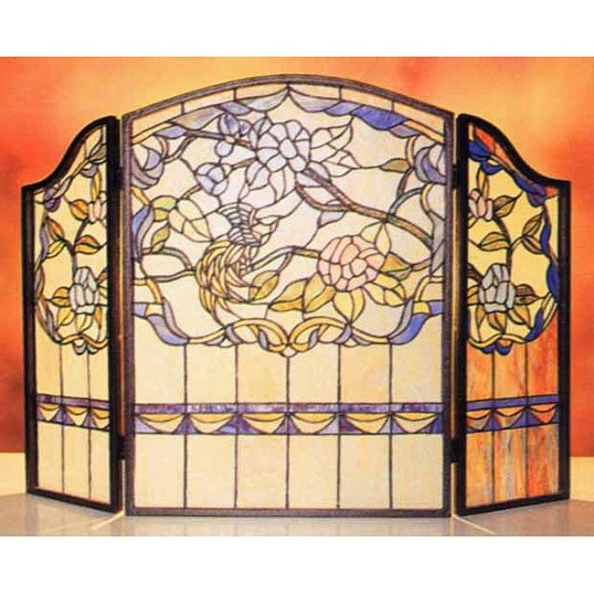 Tiffany Style Stained Glass Fireplace Screen 11538137 Shopping Great Deals