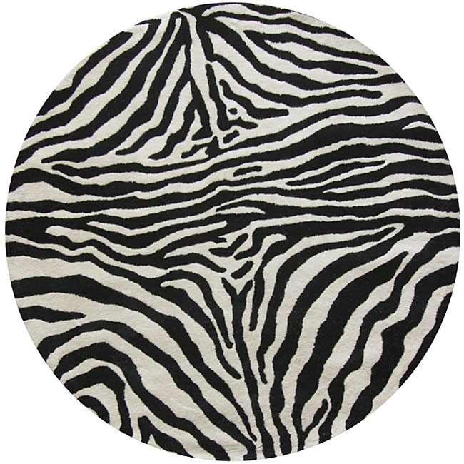 Alexa Zebra Animal Pattern Black/ White Wool Rug (6' Round)
