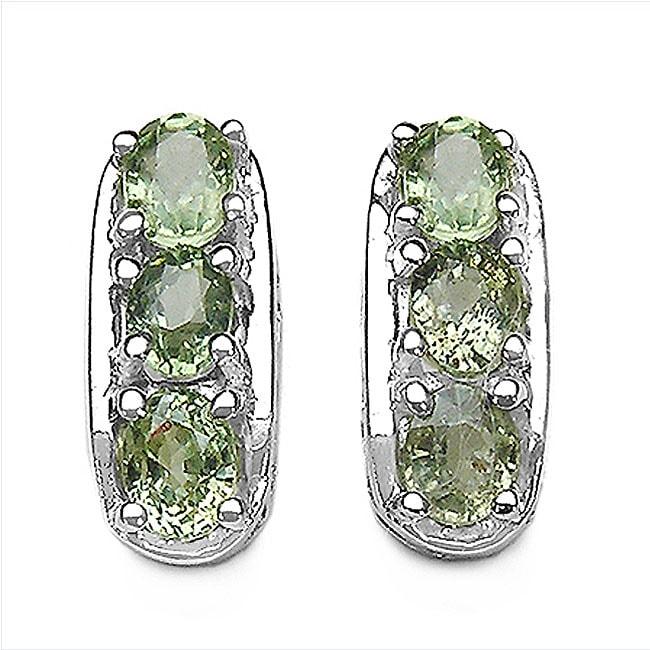 Malaika Sterling Silver Green Sapphire Earrings