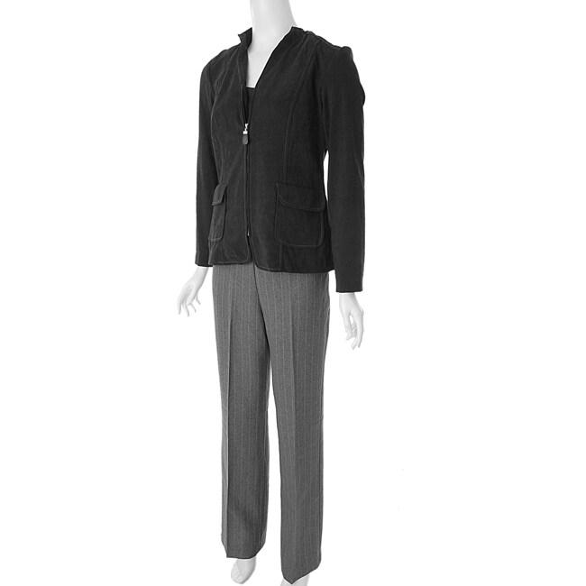 Studio I Women's 3-piece Ultrasuede Pant Suit