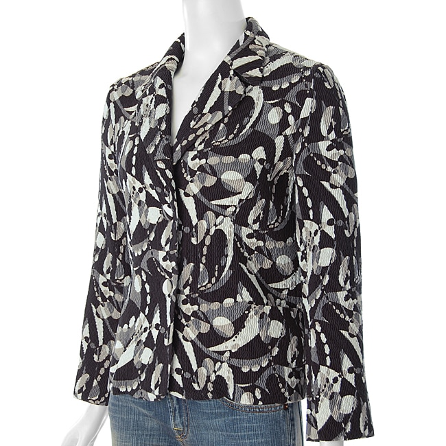 Flair Women's Crinkle Two-button Blazer