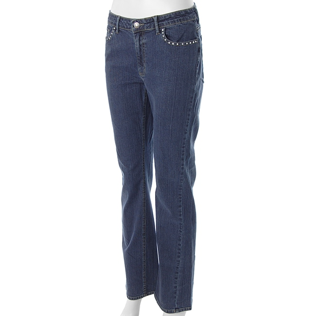 First Issue Women's Studded-accent Straight-leg Jeans