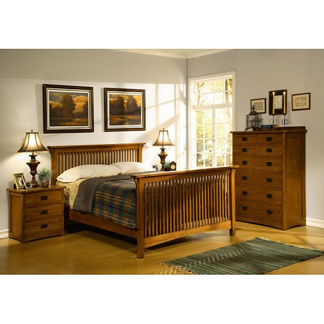 Mission Solid Oak 4 Piece Slatted Queen Bedroom Set W 8 Drawer Tall Chest Overstock Shopping