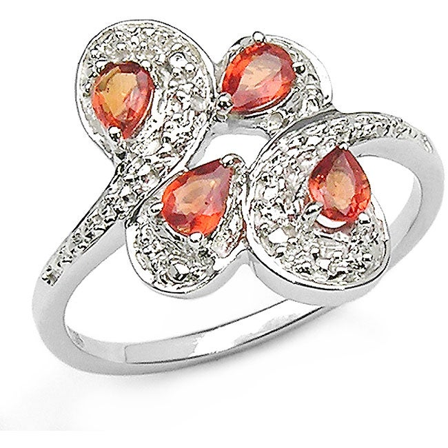 Malaika Silver Genuine Pear-cut Orange Sapphire Ring