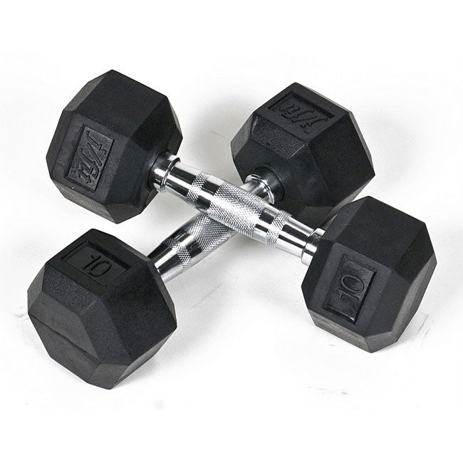 Rubber 10-pound Dumbbells (Set of 2)
