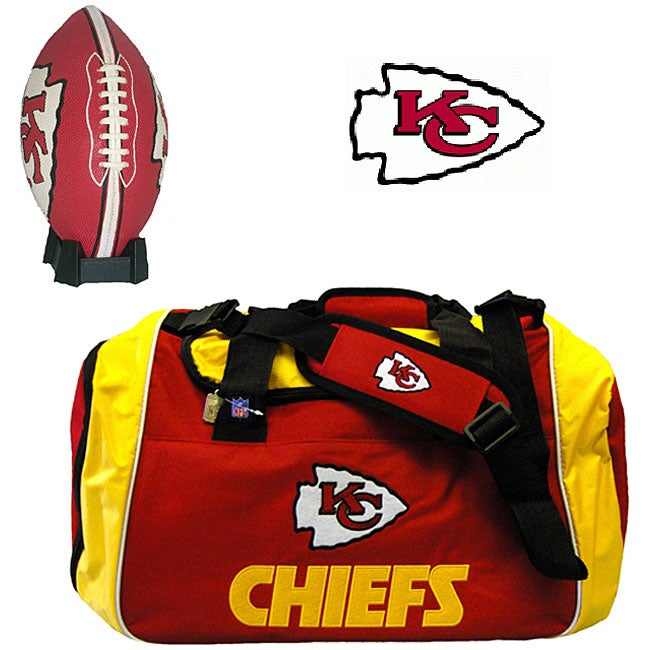Kansas City Chiefs Duffel Bag/ Football Combo
