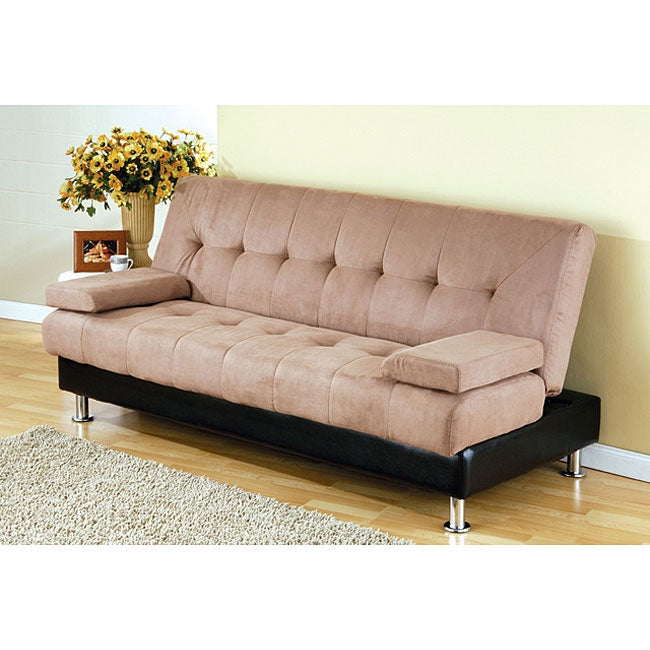 Microfiber And Leatherette Storage Futon Bed 11557812
