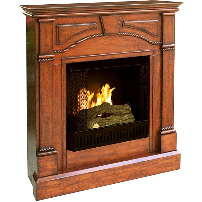 Macon Brown Mahogany Gel Fuel Fireplace 11558719 Shopping Great Deals On