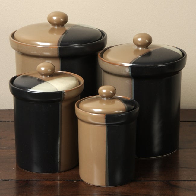sango gold dust black 4 piece canister set