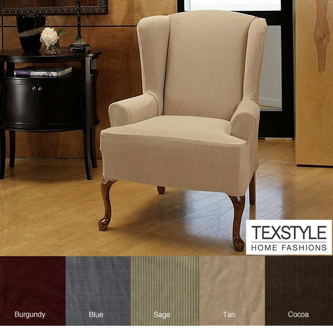 TexStyle Corduroy Stretch Wing Chair Slipcover - 11568227 - Overstock