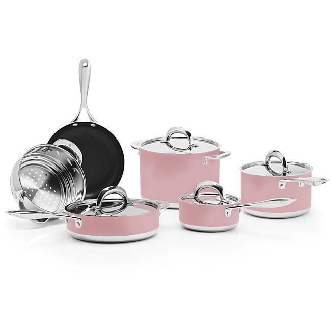 BlinQ 10-piece Pink Stainless Steel Cookware Set