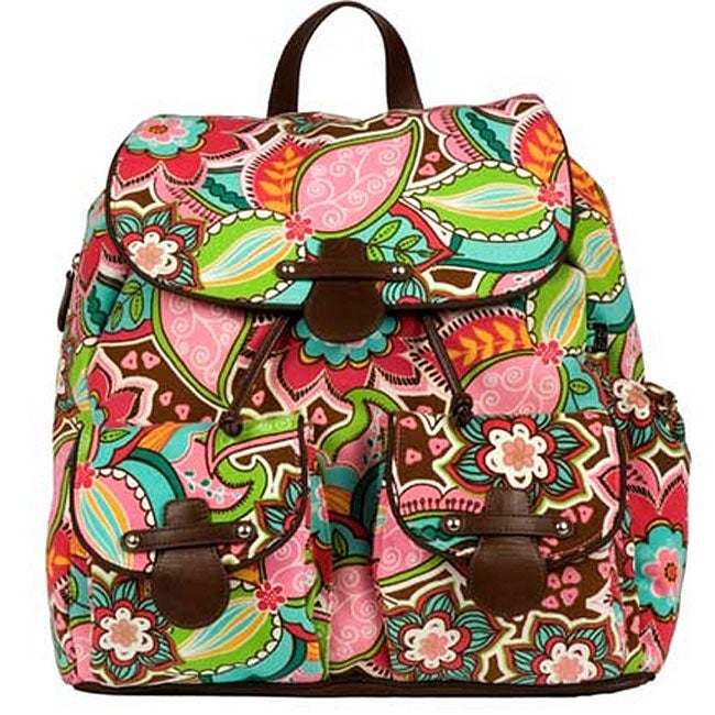 oioi pink floral backpack diaper bag 11572824 shopping bi. Black Bedroom Furniture Sets. Home Design Ideas
