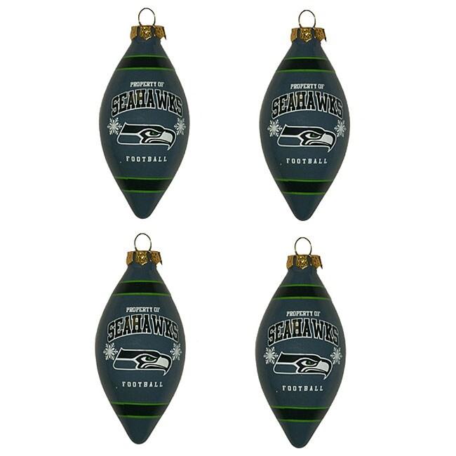 Seattle Seahawks Teardrop Ornaments (Set of 4)