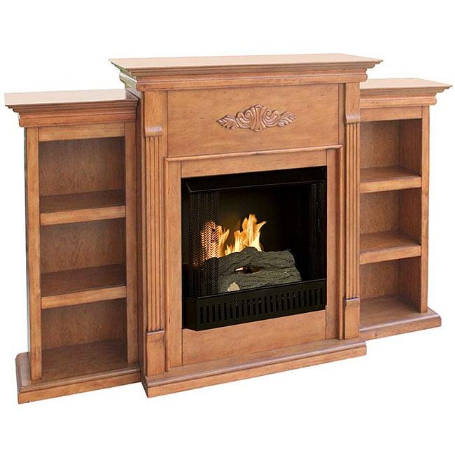 Dublin Gel Fuel Oak Fireplace with Bookcases