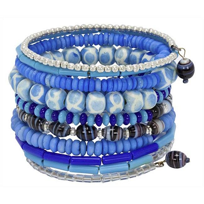 Blue Bead and Bone 10 Round Bracelet (India)