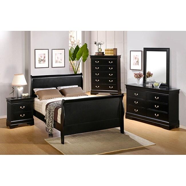 louis philippe black 5 piece queen sleigh bedroom set 11578666
