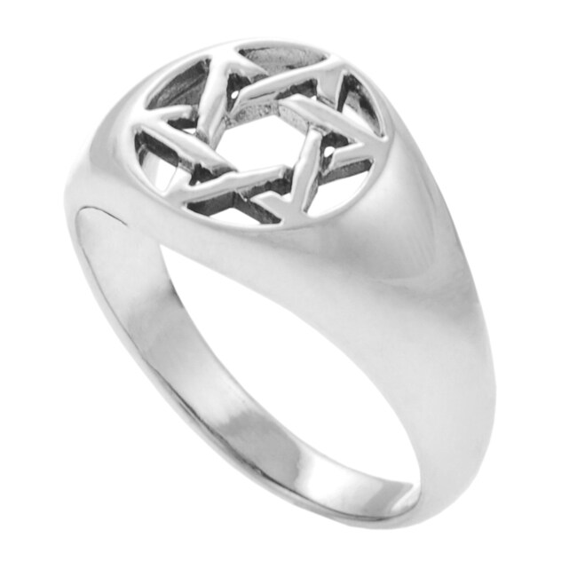 Journee Collection Sterling Silver Star of David Cut-out Ring