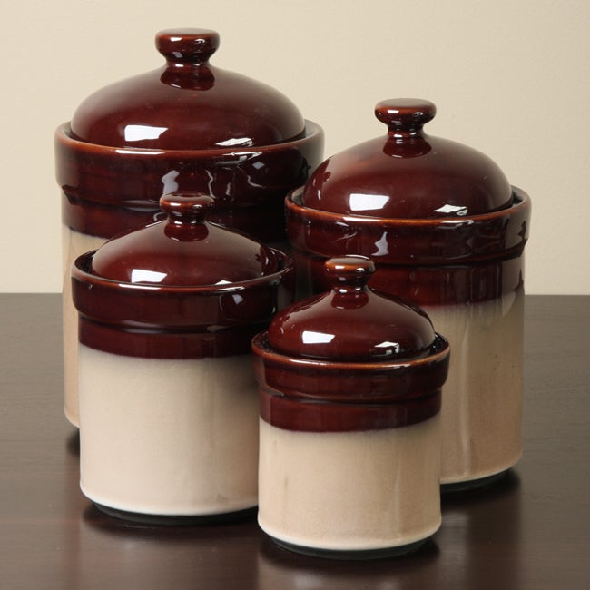 sango brown 4 kitchen canister set 11585257