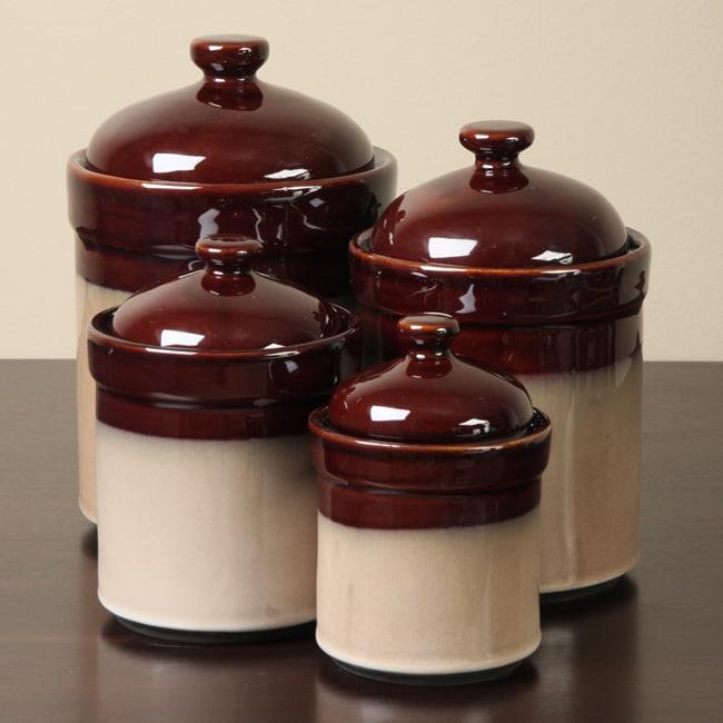 Kitchen Jars Set: Sango Nova Brown 4-piece Kitchen Canister Set