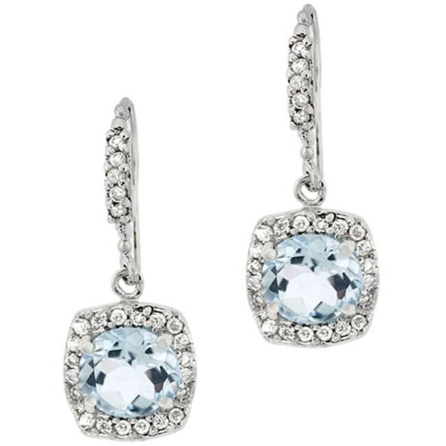 Glitzy Rocks Sterling Silver Blue Topaz and CZ Dangle Earrings