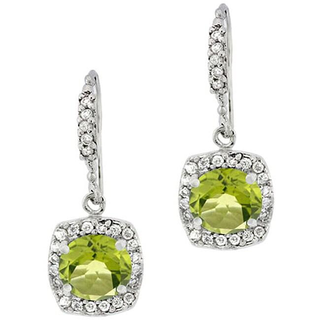 Glitzy Rocks Sterling Silver Peridot and CZ Dangle Earrings