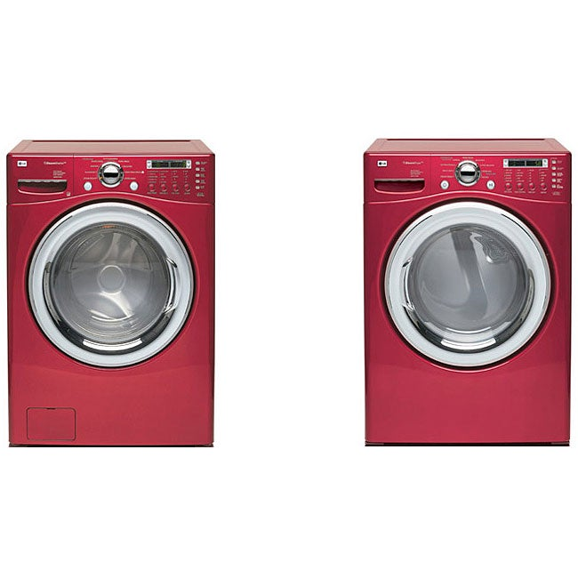 LG Red Steam Washer and Electric Dryer Combo (Refurbished)